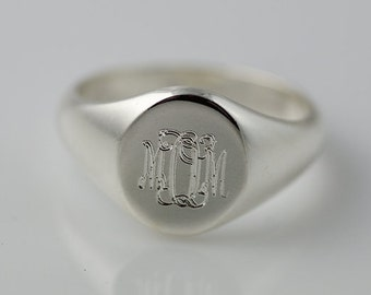 Monogram Signet Ring Sterling Silver | Personalized Engraved Initial Ring | Monogram Ring | Monogram Signet Ring | Bridesmaid Gift |