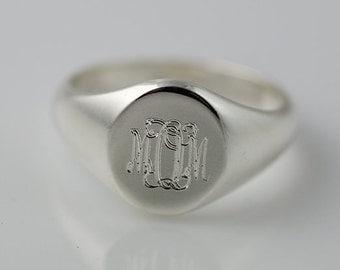 Monogram Signet Ring Sterling Silver | Personalized Engraved Initial Ring | Monogram Ring | Monogram Signet Ring | Bridesmaid Gift |