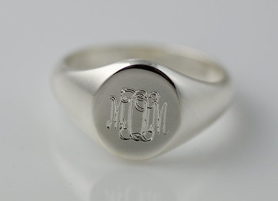 monogram signet ring sterling silver personalized engraved. Black Bedroom Furniture Sets. Home Design Ideas