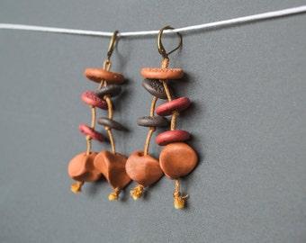 Tribal earrings Boho earrings Rustic earrings Hippie earrings Dangle earrings Beaded earrings Ochre earrings brown brick red Long earrings