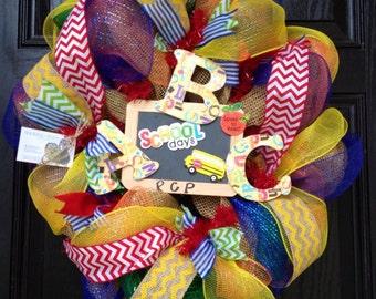 Back to School Wreath // Burlap // Chevron // Deco Mesh // ABC // Chalkboard