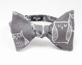 Chalk Owls on Grey Bow Tie - bowtie, bowties, bow ties, self tie, pretied, freestyle, owl, cool, fun, geek, geeky chic, awesome, zoo, animal