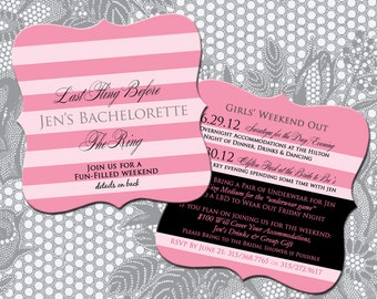 Victoria's Secret Themed Bach Party or Bridal Shower Invitations
