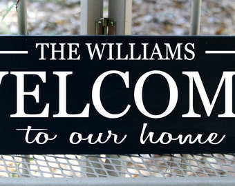 Welcome to our home with family name wood sign