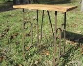 Vintage wood side table, handmade table,primitive wood furniture, rustic,solid wood table,OOAK hand made table,