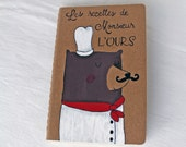 MADE TO ORDER Moleskine notebook with a french chef bear, recipe journal, kitchen moleskine, illustrated moleskine, kraft brown, red, white