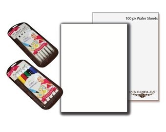 Inkedibles Premium Wafer Sheets (100 pack, A4) with YummyArt edible marker packs (5 x standard tip and 6 x thin tip)