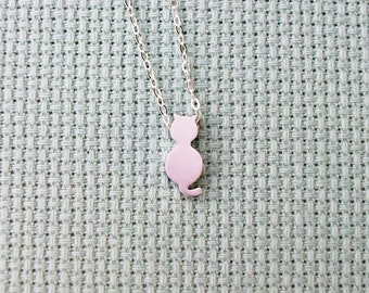 Silver Cat Necklace - Tiny Silver Cat Necklace, Sterling Silver Necklace, Christmas Gift,