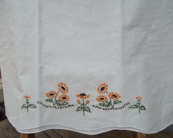 Pillowcase Vintage Autumn colors embroidered flowers on lone pillowcase