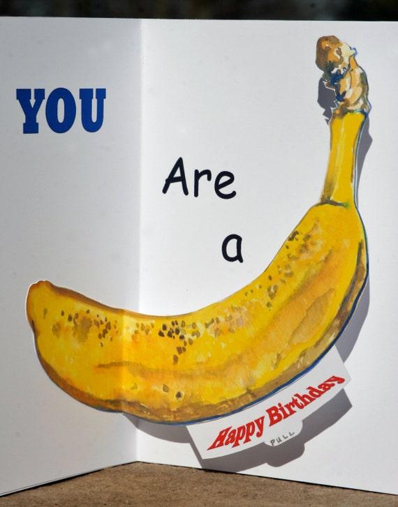 items similar to banana birthday pop up card with gouache