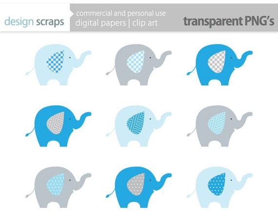 elephant clip art graphics blue baby boy elephant by ...
