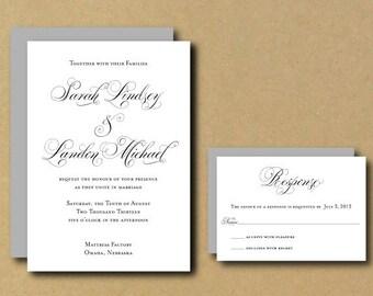 Printable Custom DIY Wedding Invitation - Rustic Script Calligraphy