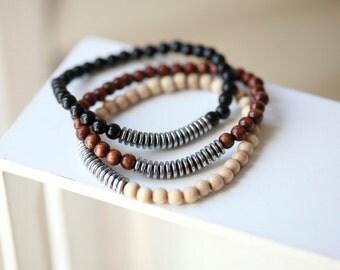 Mens Beaded Bracelet - With Hematite