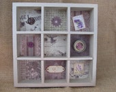 Shadowbox - Repurposed Shadowbox - Exquisite Detail - Vintage Look - French Flair - Lavender - PrettyByrdDesigns