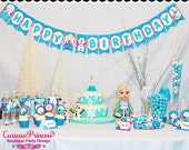 Ice Blue frozen glitter princess Printable party package with labels wrappers and toppers