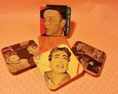 Vintage coaster set -Frank Sinatra, Lucile Ball, Joan Crawford, Groucho Marx