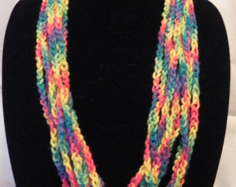 Multi-Colored Varigated Crochet Chain Scarf Necklace