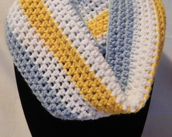 College Football Chunky Infinity Cowl Scarf in Light Blue, Gold, and White
