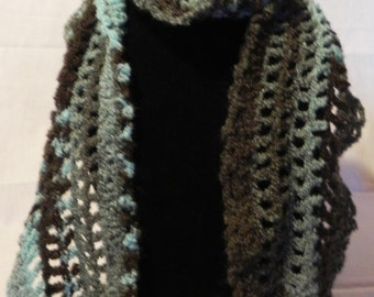 Teal and Brown Crochet Scarf