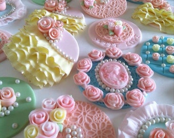 Set of vintage cupcake toppers