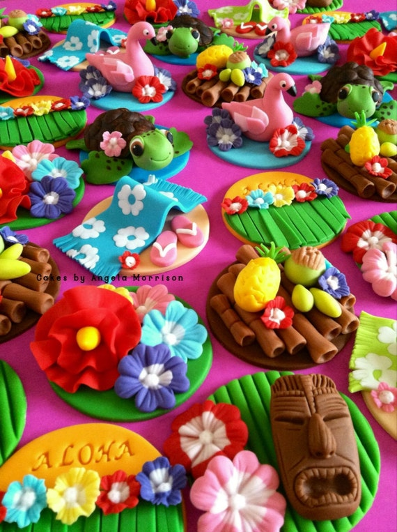 Items similar to Luau cupcake/cookie toppers on Etsy