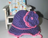 Crocheted Purple/Pink Cotton Baby Sun Hat - Newborn to 6 Months - BridgetsCollection