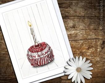 Birthday Card, Tunnocks Teacake Illustration, A7 (74mm x 105mm) or A6 (105mm x 148mm), Blank Notecard / Greeting Card.