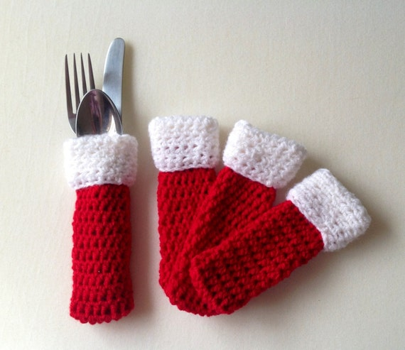 Christmas cutlery holders, set of 4, cutlery pouch, cutlery cuff