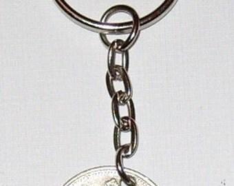 1993 10p Ten Pence Deich bPingin Irish Coin Keyring Key Chain Fob 24th Birthday