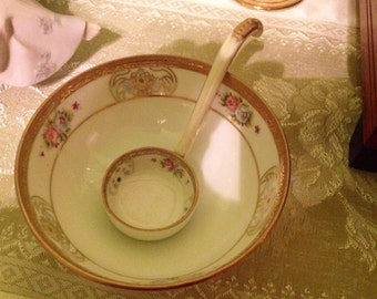 Pretty, Antique, Nippon Condiment Bowl and Ladle