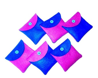 Pink and blue handmade hand sewn felt jewelry pouch - felt favor pouches - felt gift pouches