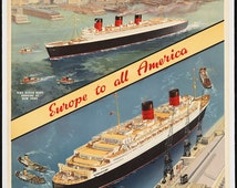 """c.1930s """"Cunard Lines Travel Ship Passenger Liner"""" Travel Poster-Antique-Old-Vintage Reproduction Photograph/Photo: Gicclee Print. Frame it!"""