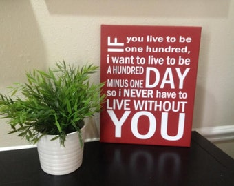 If you live to be a hundred I want to live to be a hundred minus 1 day stretched canvas sign, 11x14, 16x20, or 22x28 winnie the pooh quote,