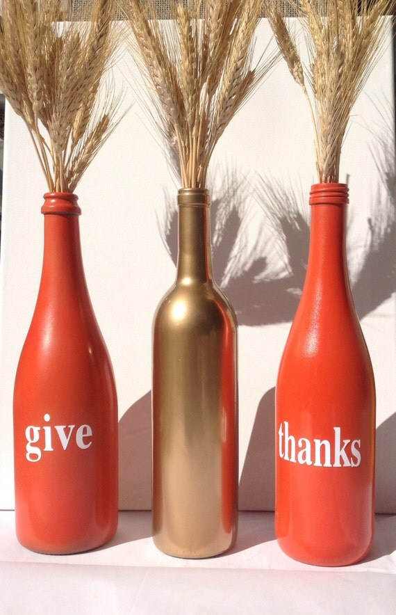 Give Thanks Painted Wine Bottles Great Fall Decor By