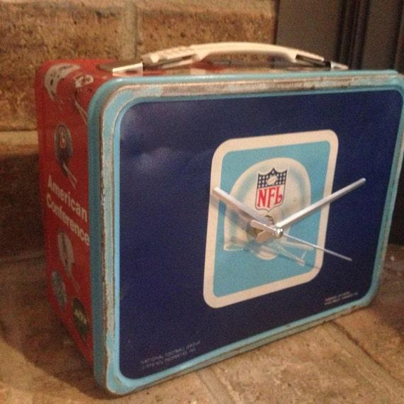 NFL Lunch Box Clock 1978 Vintage Retro Aladdin by TapDaddyHandles