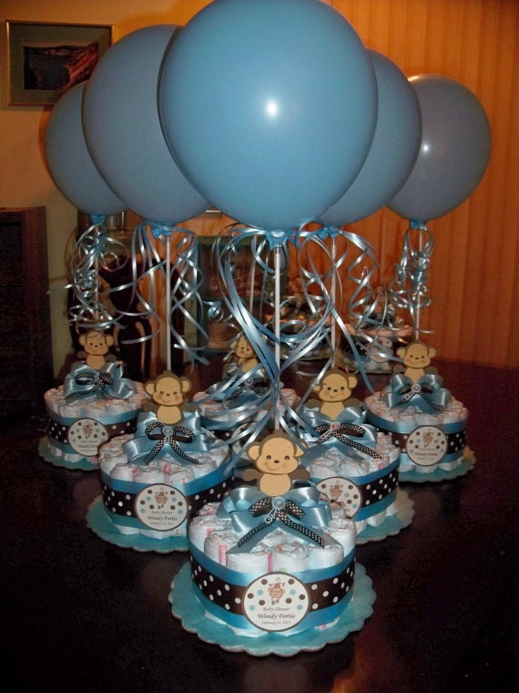 monkey baby shower diapers centerpiece with balloon baby blue brown