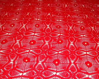 Handmade Bed Cover Hand Knit and Crochet in a Very Nice Red Color With Flowers