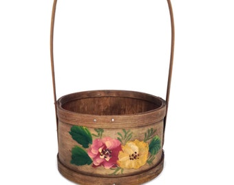 Vintage hand painted wooden basket floral design