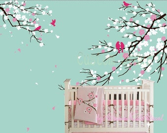 Wall Decals Cherry Blossom Tree wall decals nursery wall decals children girl baby wall decals wall sticker wall decor Birds