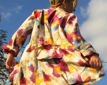 reserved for Valerie Boho Chic Bright Colors Coat Jacket Cotton Funky Upcycled