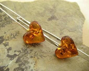 Amber Heart Earrings