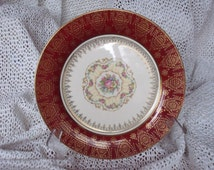 Rare Limoges Plate - Triumph American Limoges China- Rare! 11 inch Burgandy Sebring A 10 Plate with 22 K Gold Accents - Fantastic Condition