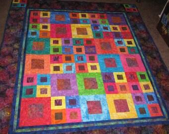 Colorful Batik Patchwork Quilt