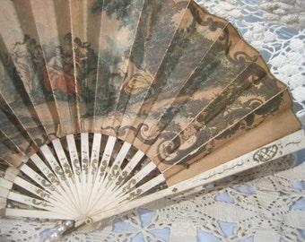 Souvenir Fan, Hand Fan, The Pickwick Inn, Greenwich CT, 1920s, Paper, Bone Blades, Scrolled in Gold, Victorian, Art Nouveau