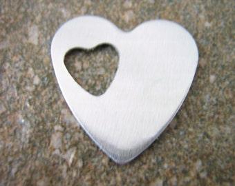 Metal Stamping Blanks Aluminum Specialty 27mm Heart Blanks.  Set of Ten