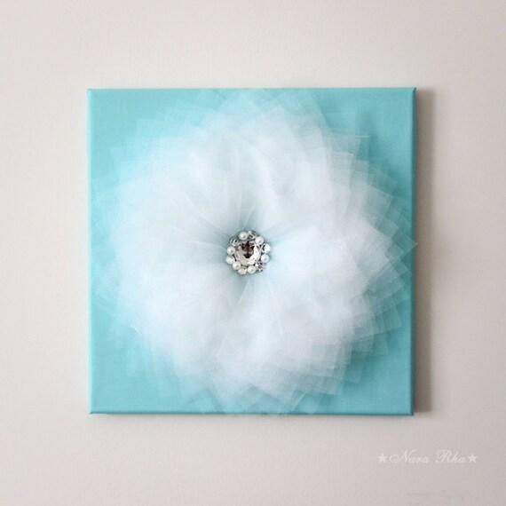 Flower wall art white and aqua 3d flower decoration by nararha for Room decor embellishment art 3d