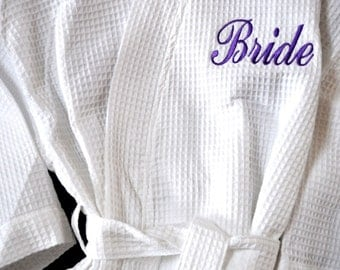 Bride Robe Bridesmaid Robes Bridesmaid Gift Monogram Robe Monogram Waffle Robe Kimono Bridal Party Robe Personalized Bridesmaids Gift Robes