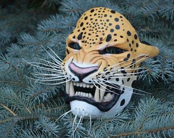 Painted Tezcatlipoca Mask - jaguar mask with whiskers