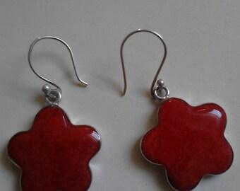 Red stone sterling silver earrings