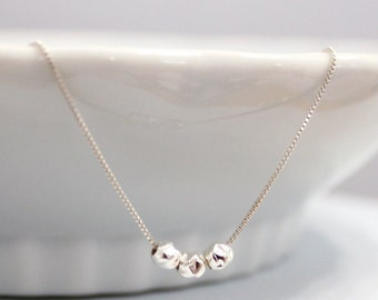 Triple Sterling Silver Hammered Balls Necklace